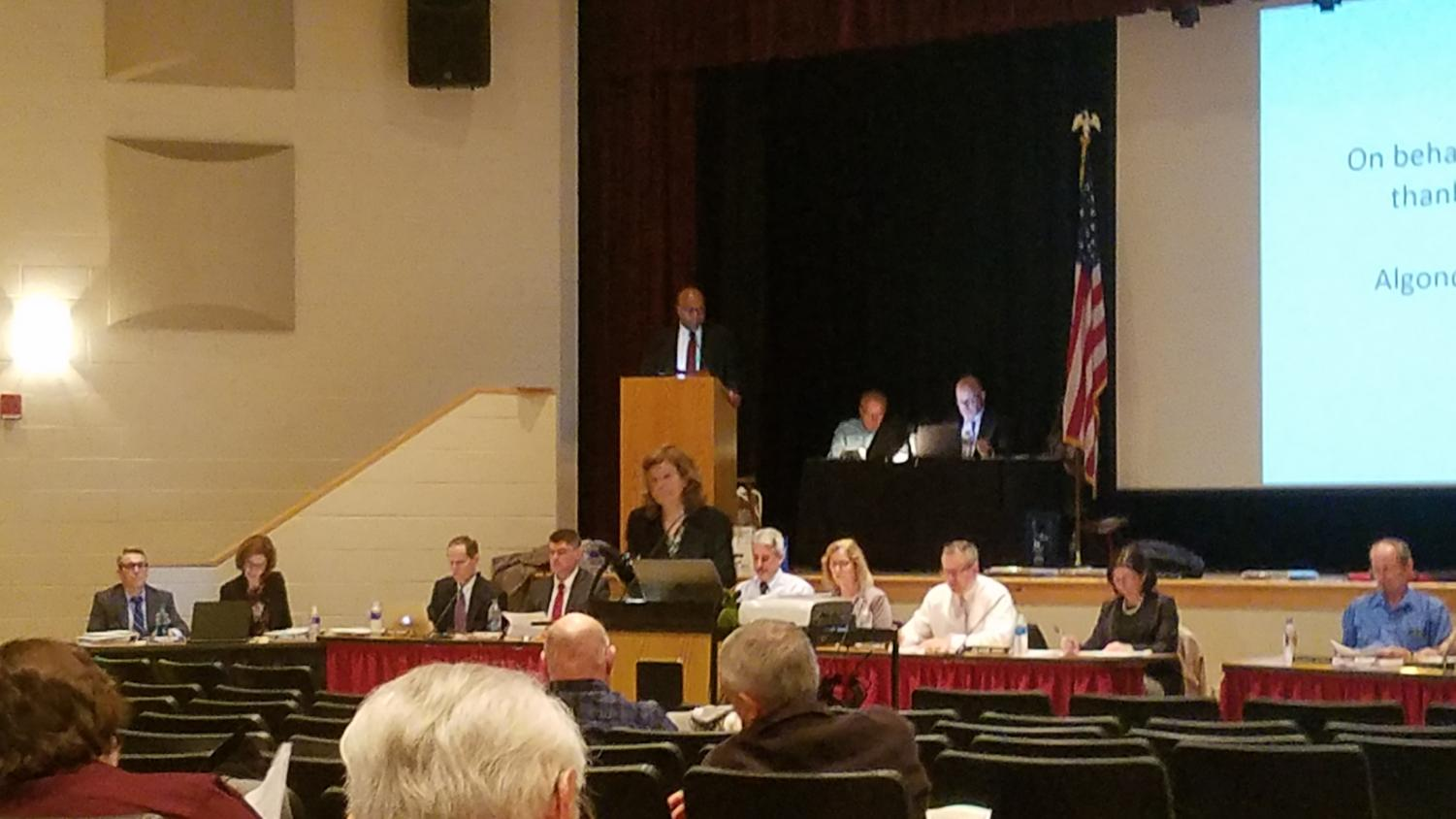 Superintendent Christine Johnson addresses the attendants at Northborough's annual town meeting on April 22.