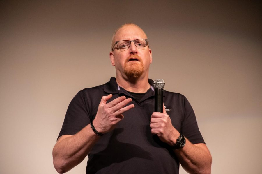 Dan+Miller+spoke+about+his+three+deployments+and+life+after+he+came+back+home.++Miller+travels+the+country+speaking+on+behalf+of+the+Wounded+Warrior+Project.++