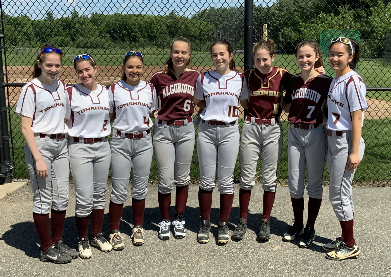 [From left to right] freshmen Charlotte Roiter, Taylor Hodge, Christina Kennedy, Meredith Sainsbury, Megan Tucker, Eve Roiter, Alison Hojlo and Angela Ke are just a few of the nine freshman that are on varsity softball.  While the team is currently going through a rough patch, they look to a bright future with the talent of their young stars.