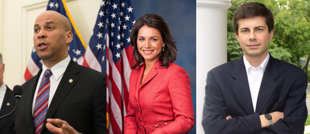 Three candidates, Corey Booker, Tulsi Gabbard and Pete Buttigieg are running for the 2020 Democratic presidential nomination.