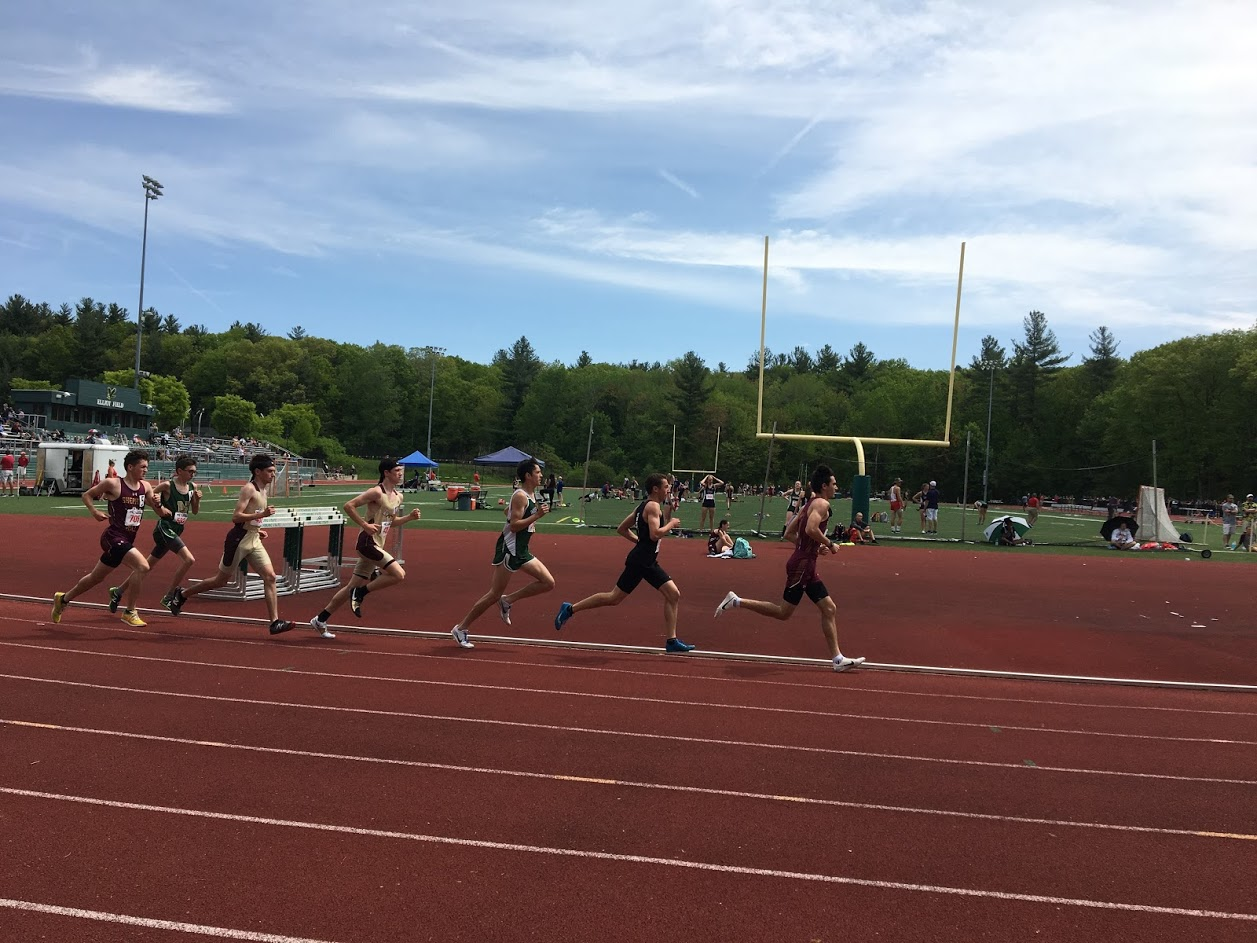Sophomore Will Lamburn and junior Nick West run the two mile at State Quals on Saturday May 25.