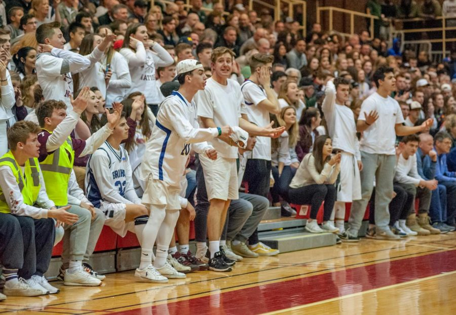 Fans pack the stands for the Central Massachusetts boys' basketball semifinal game.  Staff writer Heather Hodgkins writes that support like this should be given to the girls' teams as well.