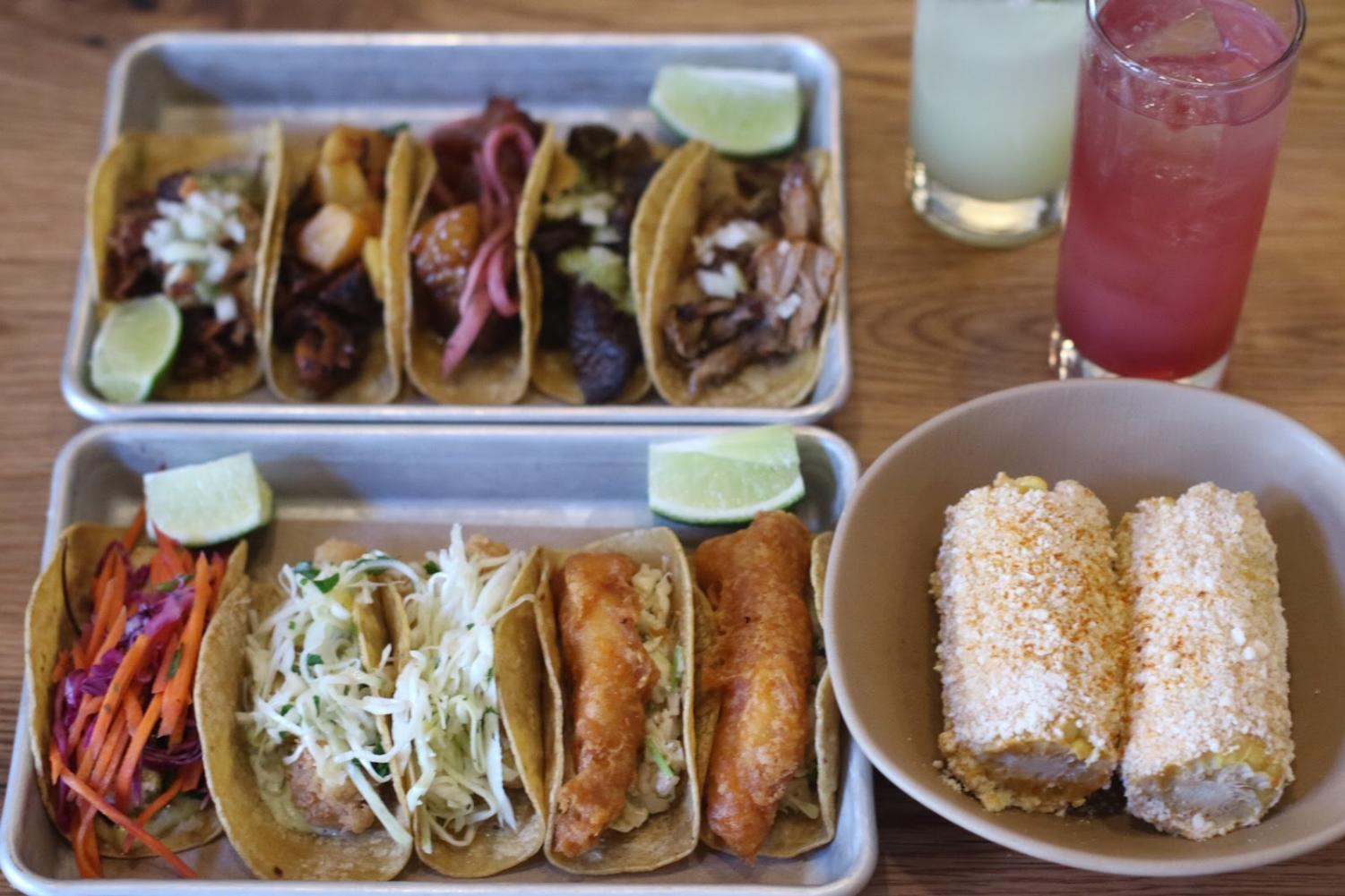 Assistant news editor Claire Bai's meal at Bartaco consisted of assorted tacos, corn fritters ($6) and pomegranite limonada and nojito drinks.
