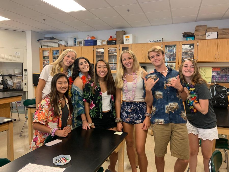 Seniors embraced the beach day theme as [from left to right] seniors Sequoia Truong, Olivia Chiota, Soraya Hafiani, Jenna Levenson, Chloe Chiota, Joey Mcevoy and Lauren Silva all played their part in showing their school spirit.