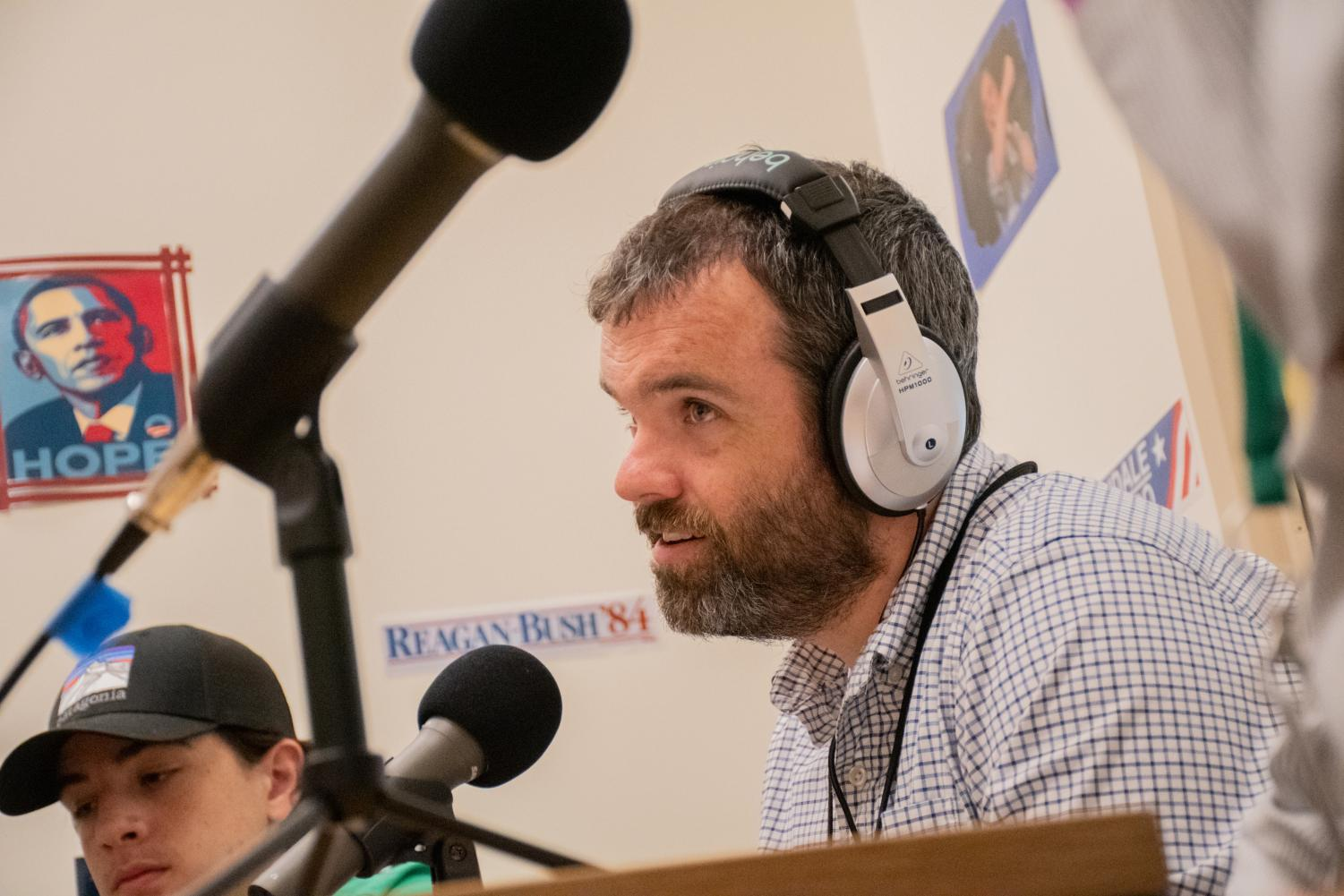 Social Studies teacher Brian Kellett discusses the amount of 2020 Democratic nominees with students for the June 3, 2019 episode of the Algonquin Politics Podcast. Kellett and Social Studies teacher John Barry started the Algonquin Politics Podcast to get students to talk about politics in an informal fashion.