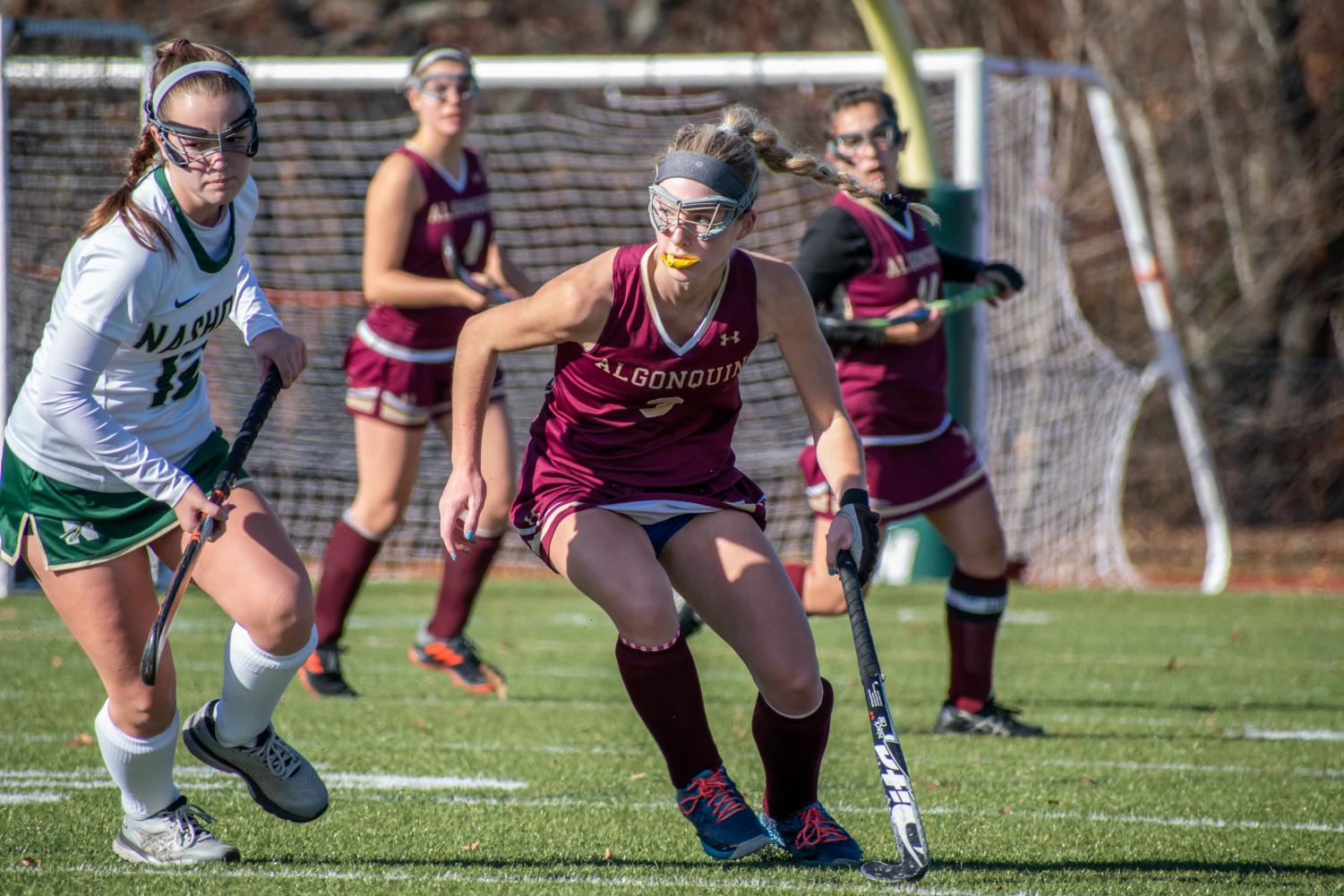 Senior Halle Zides looks for the ball against Nashoba on Nov. 9 in the CMASS Championship game. The team went on to lose 2-0.