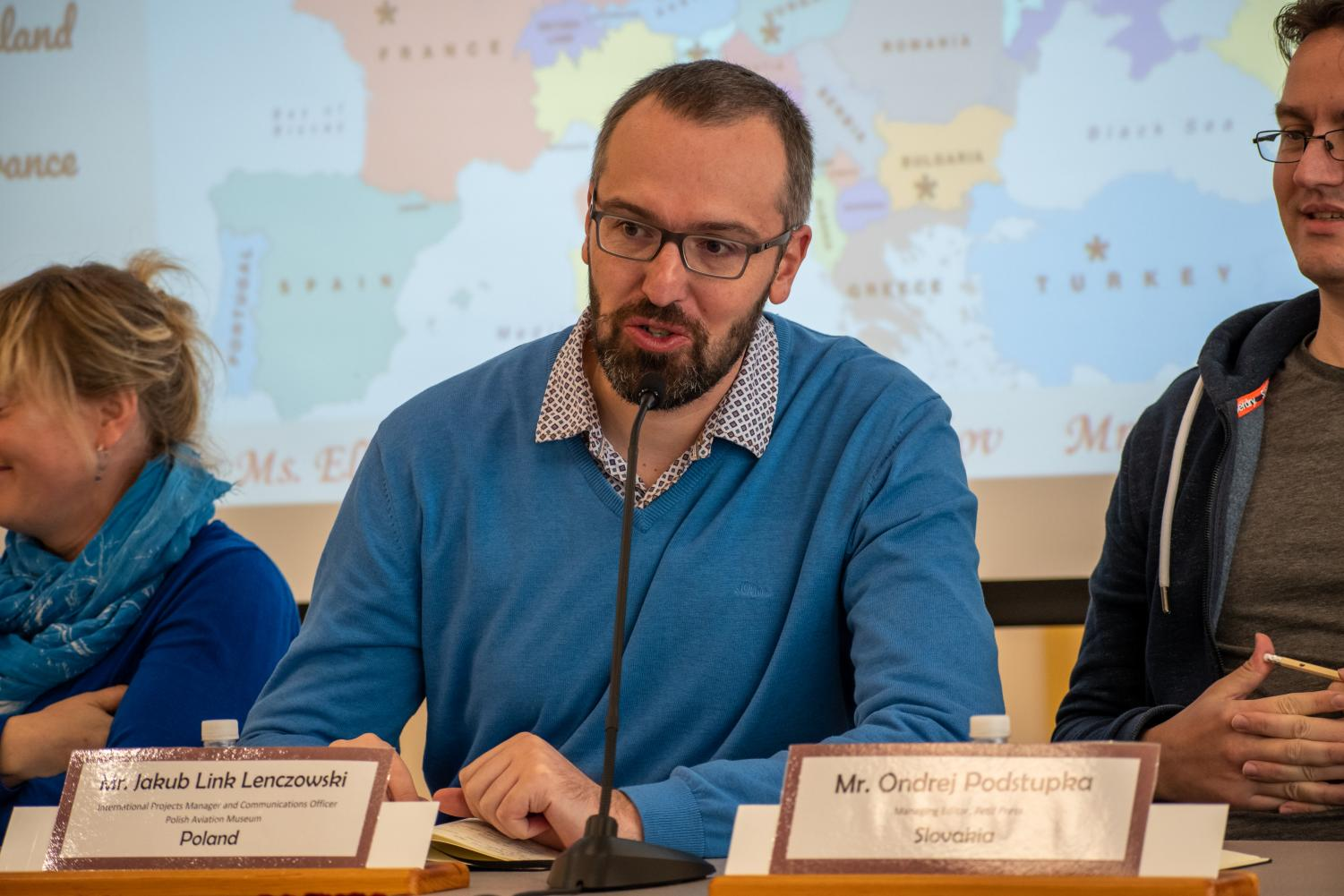 Jakub Link Lenczowski, Communications Officer for the Polish Aviation Museum, spoke to students as a part of a panelist of international journalist and communications experts. The topic of the discussion was media literacy in the digital age.