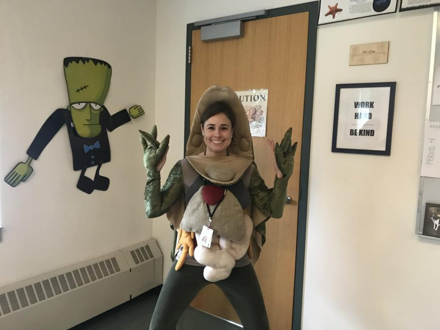 Science teacher Elisa Drake created this frog costume for a faculty costume contest two years ago.  Since then, she has added some organs.