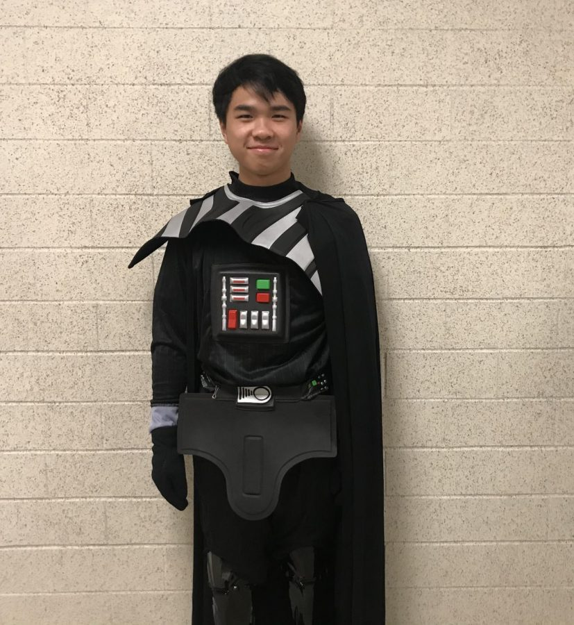 Junior Nick Seto dressed as  Darth Vader.