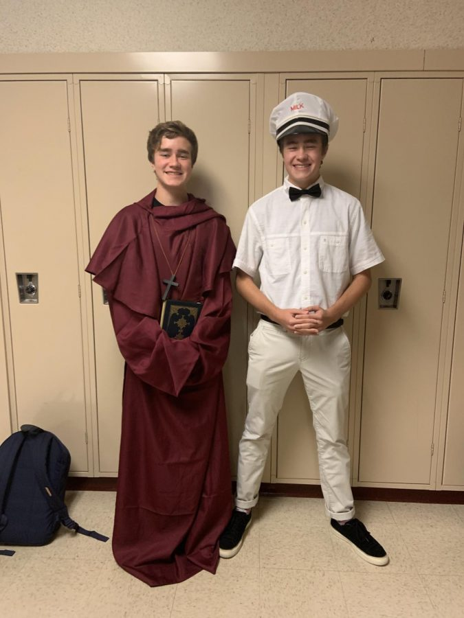 Junior twins Jarrod and Andrew Caracciolo dressed up as a priest from