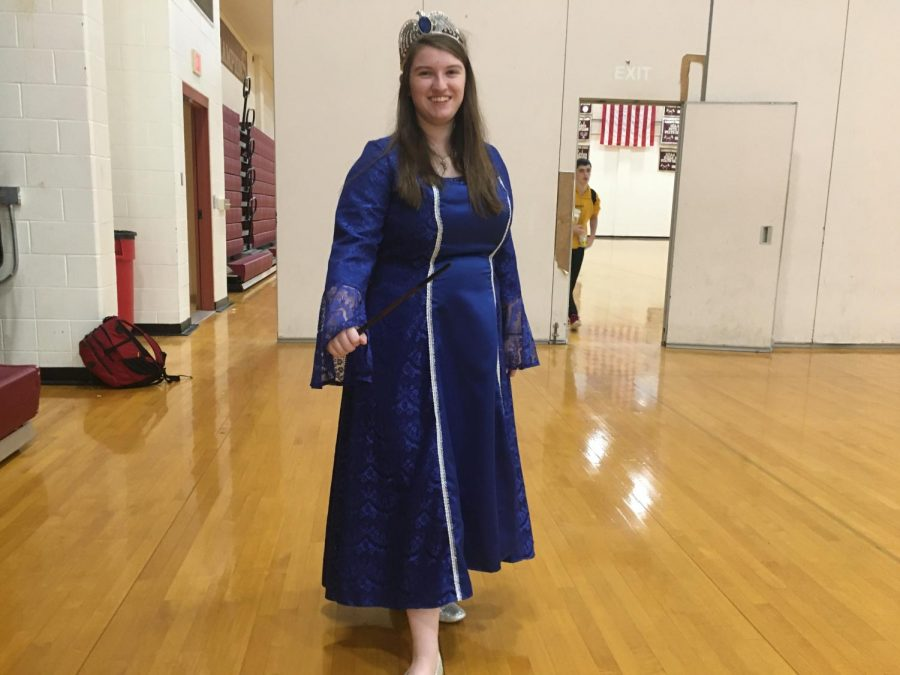 Junior Sarah Cassidy sports a homemade princess costume. According to Cassidy, the costume took her a continuous week to make.