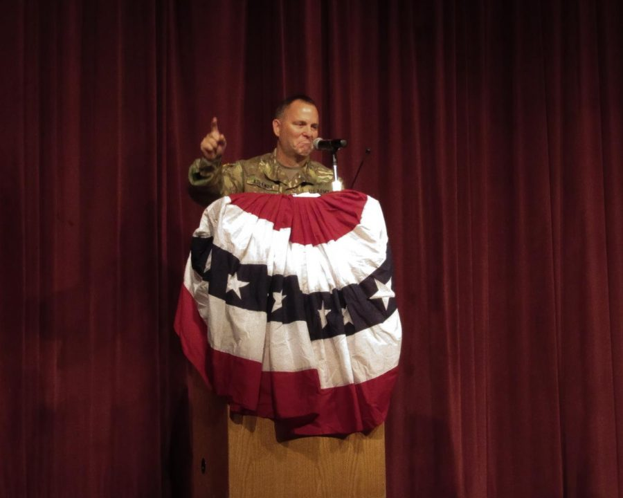 During the Veteran's Day assembly on Nov. 15, Lt Col. Daniel Kolenda shares his experience in the U.S. Army and how it impacted his life.
