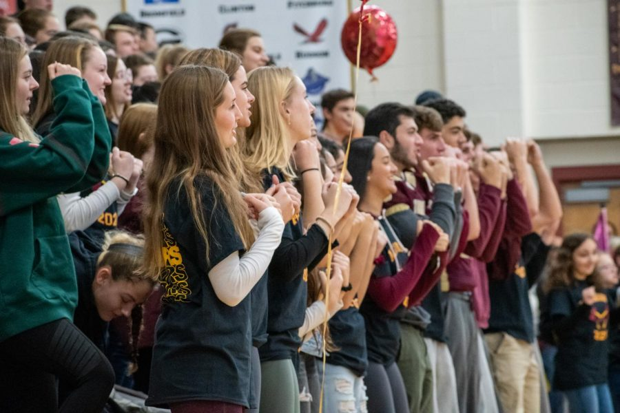 Seniors stand in their spots at the Thanksgiving pep rally. This in addition to an A formation will start the lip dub that student council is planning for this school year.