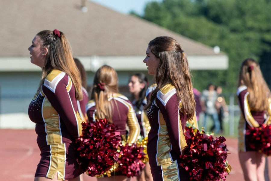Cheerleaders on the sidelines of the football game on Sept. 20.