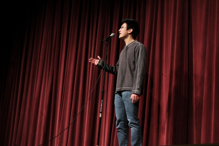 Senior Joe Zhang performed two poems at the poetry out loud school finals to clinch first place. Zhang along with senior Meredith Lapidas and junior Sarah Saeed will move onto the state competition.