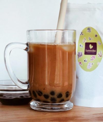 Bubble tea made at home with black tea and almond milk.