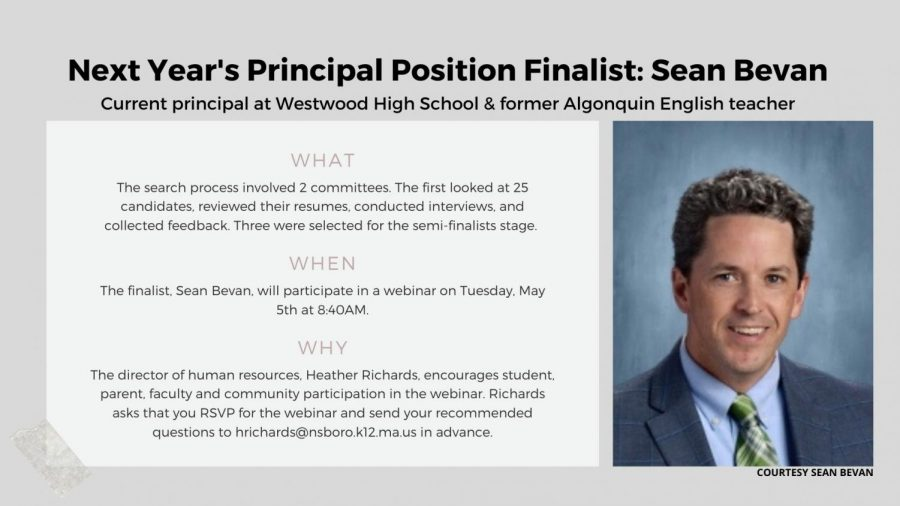Sean Bevan is the final candidate for principal starting in the 2020-2021 school year. The community will have a chance to join a Zoom call to ask him questions this Tuesday.