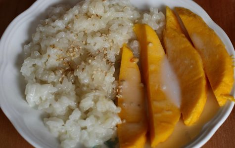Opinion Editor Brianna Tang's homemade mango sticky rice topped with coconut milk sauce.