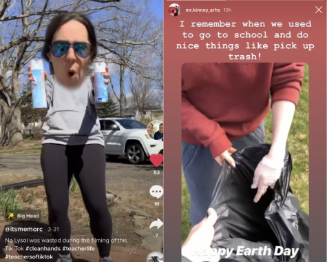 [From left to right] Physical education teacher Kristen Morcone does a trending TikTok dance to make her students laugh. Physical education teacher Andrew Kinney posts a throwback video on his Instagram story for Earth Day.