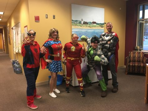 Dr. Sara Pragluski Walsh [third from left] showcasing her Halloween spirit alongside her co-administrators. Walsh has left after three years of such spirit and commitment as Algonquin principal.
