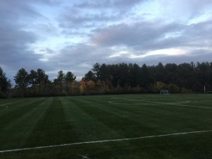 The fields at Algonquin were empty Monday night after sports were canceled, to allow administration time for contact tracing.