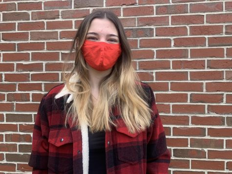 I coordinated my red mask to a red striped jacket and shoes. I love wearing this mask because it is my favorite color and I have many clothing items to match with it.