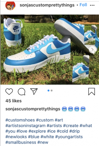 Senior Sonja Mott has been selling custom shoes and art through her Instagram, @sonjascustomprettythings. Being a business owner has allowed Mott to make some cash during quarantine and express herself artistically.