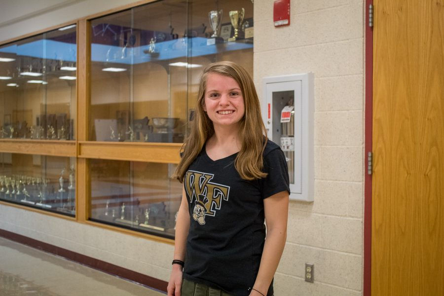 Kaitlyn Desio wears a Wake Forest University t-shirt in honor of her commitment to the school back in September.