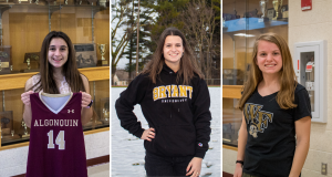 Seniors Macey Poitras-Cote, Christina DeFeudis and Kaitlyn Desio have committed to playing sports at Wheaton College, Bryant University and Wake Forest University.