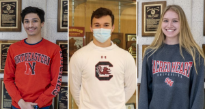 Seniors Curran Moholkar, Sam Hill and Kerryn O'Connell have committed to playing sports at Northeastern University, UMass Amherst and Sacred Heart University.