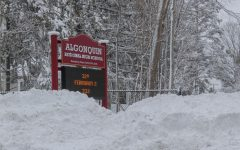 Snow banks nearly covered the school's sign on Bartlett Street on Tuesday, Feb. 2, the recent official snow day during which there was no remote learning.