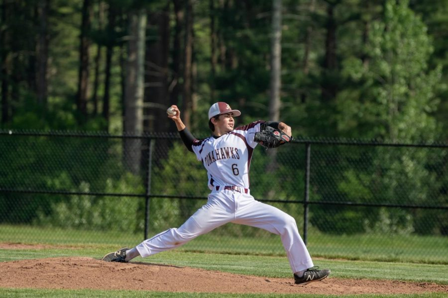Junior Connor Lee delivers a pitch against St. Paul. The Algonquin baseball team suffered a 9-2 loss against them on May 21.