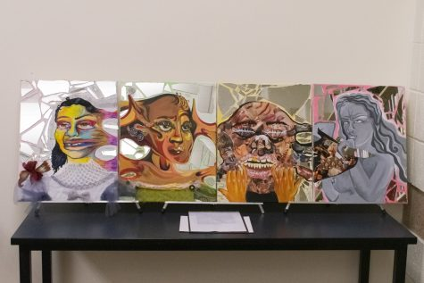 """Senior Sonja Mott's pieces titled """"the enigma of beauty"""" tackle the concept of external beauty. She explains that """"no one will ever truly know the definition of beauty on a social level, because it is constantly changing."""""""