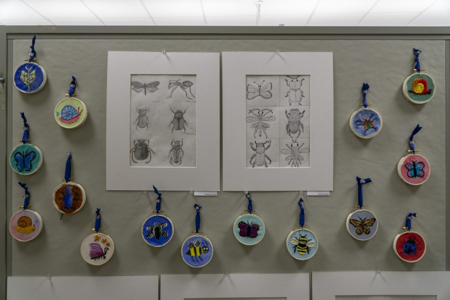 The Underclassmen Art Show displays art produced by students who took Mixed Media.